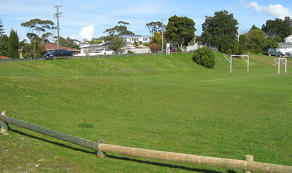 sports field bank following repair work done in November 2005