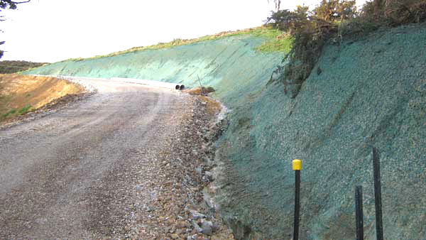 hydromulching on a very steep slope erosion control